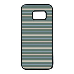 Horizontal Line Grey Blue Samsung Galaxy S7 Black Seamless Case by Mariart