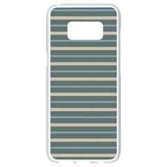 Horizontal Line Grey Blue Samsung Galaxy S8 White Seamless Case by Mariart