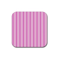 Line Pink Vertical Rubber Square Coaster (4 Pack)  by Mariart