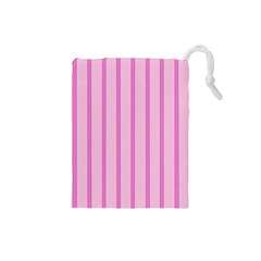 Line Pink Vertical Drawstring Pouches (small)  by Mariart
