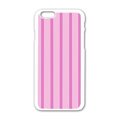 Line Pink Vertical Apple Iphone 6/6s White Enamel Case by Mariart