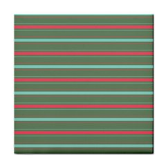 Horizontal Line Red Green Tile Coasters by Mariart