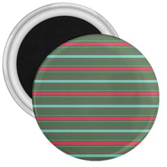 Horizontal Line Red Green 3  Magnets by Mariart