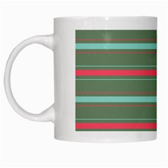 Horizontal Line Red Green White Mugs by Mariart