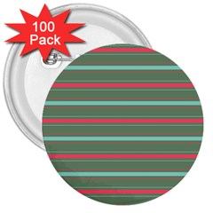 Horizontal Line Red Green 3  Buttons (100 Pack)  by Mariart