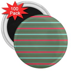 Horizontal Line Red Green 3  Magnets (100 Pack) by Mariart