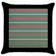 Horizontal Line Red Green Throw Pillow Case (black) by Mariart