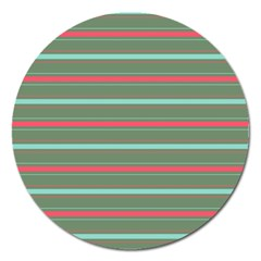 Horizontal Line Red Green Magnet 5  (round)