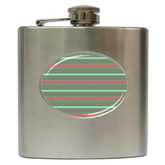 Horizontal Line Red Green Hip Flask (6 Oz) by Mariart