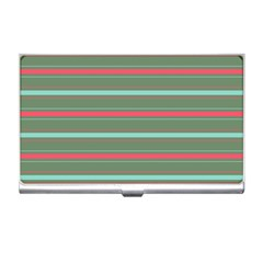 Horizontal Line Red Green Business Card Holders by Mariart