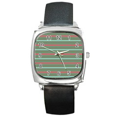Horizontal Line Red Green Square Metal Watch by Mariart