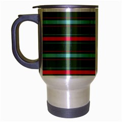 Horizontal Line Red Green Travel Mug (silver Gray) by Mariart
