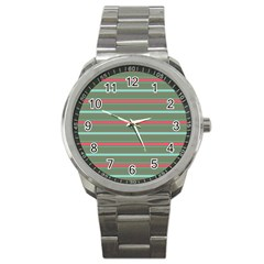 Horizontal Line Red Green Sport Metal Watch