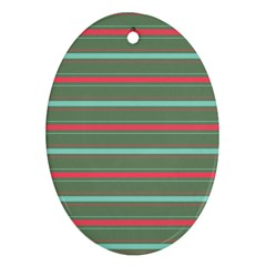Horizontal Line Red Green Oval Ornament (two Sides) by Mariart