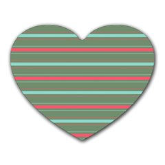 Horizontal Line Red Green Heart Mousepads by Mariart