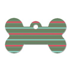 Horizontal Line Red Green Dog Tag Bone (two Sides) by Mariart