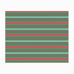 Horizontal Line Red Green Small Glasses Cloth (2-side) by Mariart