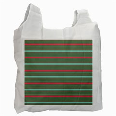 Horizontal Line Red Green Recycle Bag (one Side) by Mariart