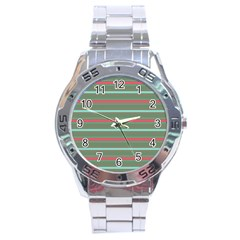 Horizontal Line Red Green Stainless Steel Analogue Watch by Mariart