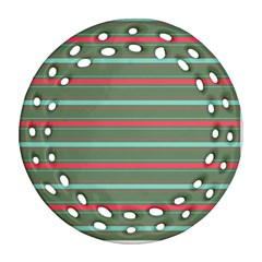 Horizontal Line Red Green Round Filigree Ornament (two Sides) by Mariart