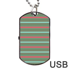 Horizontal Line Red Green Dog Tag Usb Flash (two Sides) by Mariart