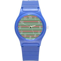 Horizontal Line Red Green Round Plastic Sport Watch (s) by Mariart