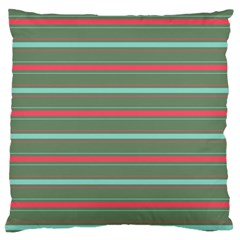 Horizontal Line Red Green Large Cushion Case (one Side) by Mariart