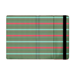 Horizontal Line Red Green Apple Ipad Mini Flip Case