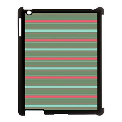 Horizontal Line Red Green Apple Ipad 3/4 Case (black) by Mariart