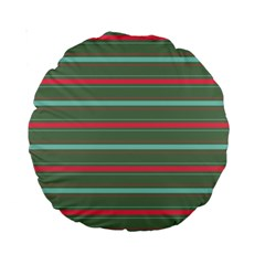 Horizontal Line Red Green Standard 15  Premium Round Cushions by Mariart