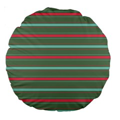Horizontal Line Red Green Large 18  Premium Round Cushions by Mariart