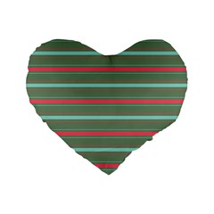 Horizontal Line Red Green Standard 16  Premium Heart Shape Cushions by Mariart