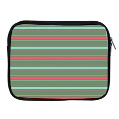 Horizontal Line Red Green Apple Ipad 2/3/4 Zipper Cases by Mariart