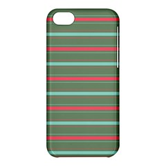 Horizontal Line Red Green Apple Iphone 5c Hardshell Case by Mariart