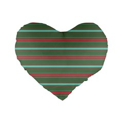 Horizontal Line Red Green Standard 16  Premium Flano Heart Shape Cushions by Mariart