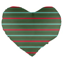Horizontal Line Red Green Large 19  Premium Flano Heart Shape Cushions by Mariart