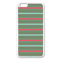 Horizontal Line Red Green Apple Iphone 6 Plus/6s Plus Enamel White Case by Mariart