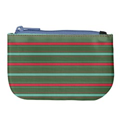 Horizontal Line Red Green Large Coin Purse