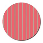 Line Red Grey Vertical Round Mousepads Front
