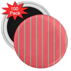 Line Red Grey Vertical 3  Magnets (100 Pack) by Mariart