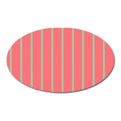 Line Red Grey Vertical Oval Magnet by Mariart