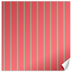 Line Red Grey Vertical Canvas 12  X 12   by Mariart