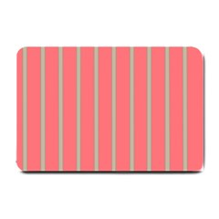 Line Red Grey Vertical Small Doormat  by Mariart