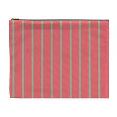 Line Red Grey Vertical Cosmetic Bag (xl) by Mariart