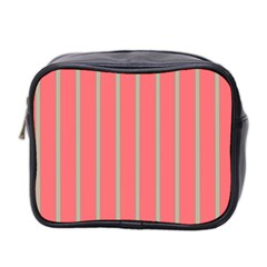 Line Red Grey Vertical Mini Toiletries Bag 2 Side by Mariart