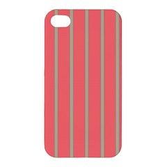 Line Red Grey Vertical Apple Iphone 4/4s Hardshell Case by Mariart