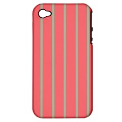 Line Red Grey Vertical Apple Iphone 4/4s Hardshell Case (pc+silicone) by Mariart