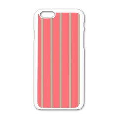 Line Red Grey Vertical Apple Iphone 6/6s White Enamel Case by Mariart