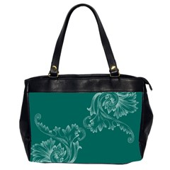 Leaf Green Blue Sexy Office Handbags (2 Sides)  by Mariart