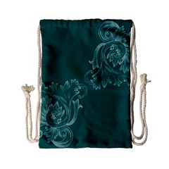 Leaf Green Blue Sexy Drawstring Bag (small) by Mariart